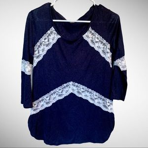 CHARMING CHARLIE Navy & Lace Blouse